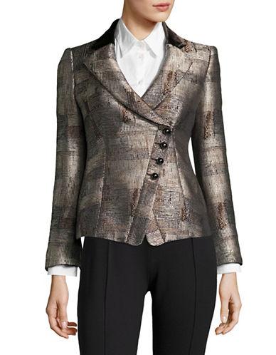Armani Collezioni Textured Asymmetrical Blazer-MULTI-EUR 48/US 12