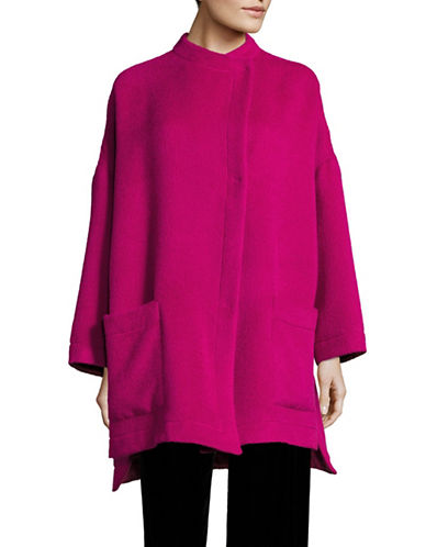 Armani Collezioni Alpaca-Wool Snap-Button Coat-FUCHSIA-EUR 44/US 8