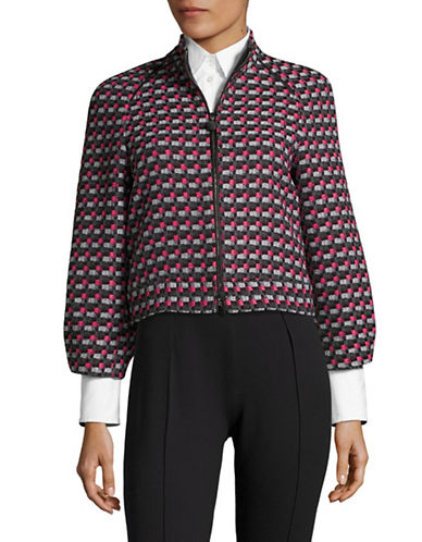 Armani Collezioni Fantasy Print Basketweave Boxy Bomber Jacket-PINK/GREY-13X72 INCHES