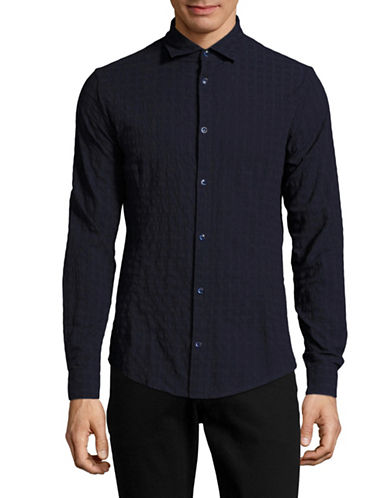 Armani Jeans Boxed Piece-Dyed Jacquard Shirt-NAVY-Medium