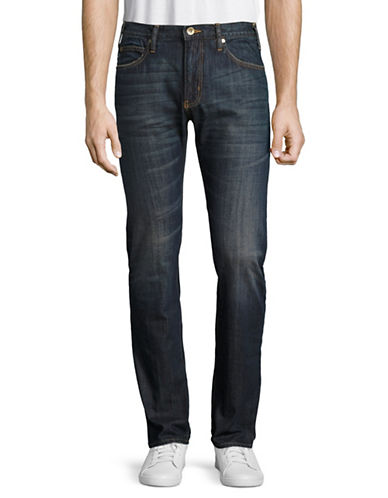 Armani Jeans Whiskered Slim Straight Jeans-BLUE-36