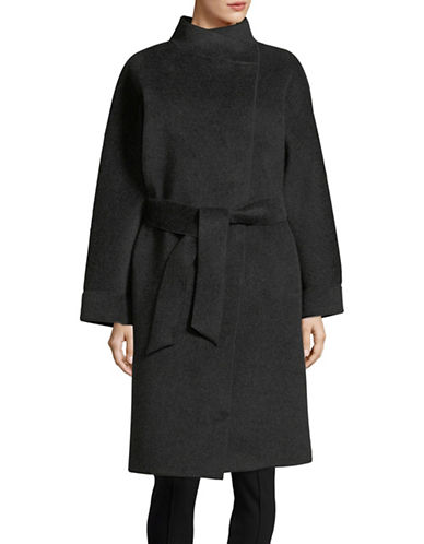 Armani Collezioni Belted Wool-Blend Coat-DARK GREY-EUR 40/US 4