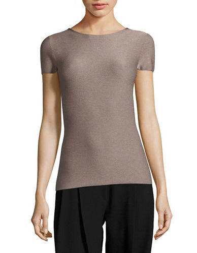Armani Collezioni Knit T-Shirt-DARK BEIGE-EUR 48/US 12