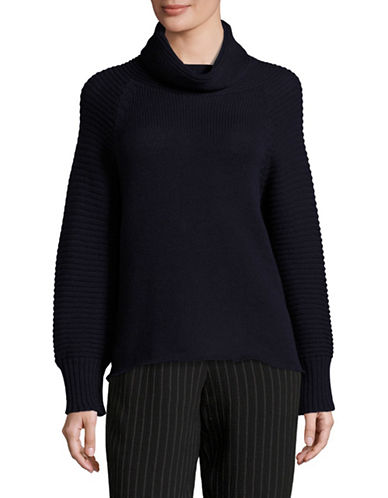 Emporio Armani Wool-Cashmere Cowl Neck Sweater-NAVY-EUR 42/US 6