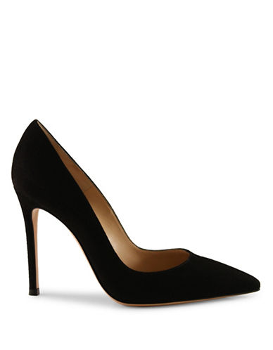 Gianvito Rossi Suede Pointed Toe Pumps-BLACK-EUR 37.5/US 7.5