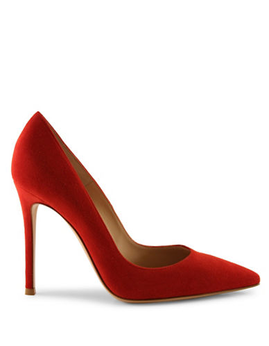 Gianvito Rossi Suede Pointed Toe Pumps-RED-EUR 39/US 9