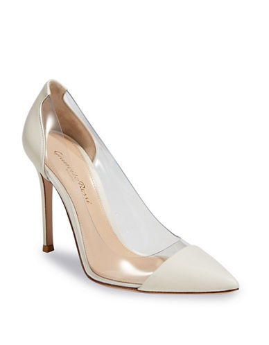 Gianvito Rossi Radiant Floral Point Toe Pumps-WHITE-EUR 36.5/US 6.5