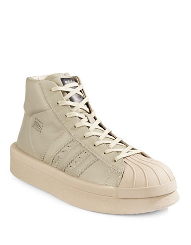 Image of Adidas X Rick Owens Mastodon Pro Model Leather Sneakers-BEIGE-UK 9.5/US 10.5