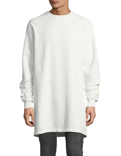 Rick Owens Drkshdw Longline Fleece-Back Sweatshirt-WHITE-Large