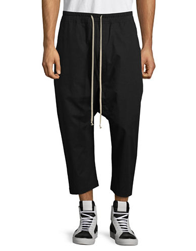 Rick Owens Drkshdw Cropped Drawstring Pants-BLACK-Large