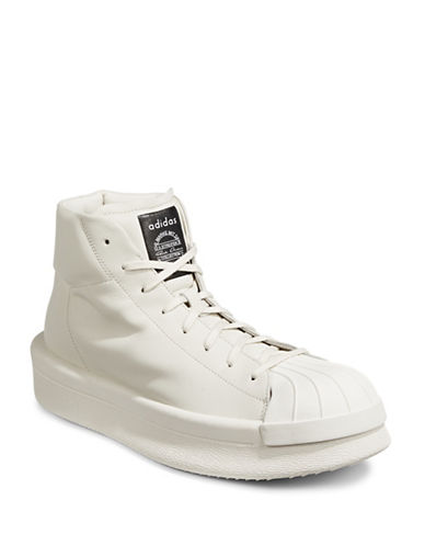 Adidas X Rick Owens Mastodon Leather Sneakers-WHITE-UK 9/US 10
