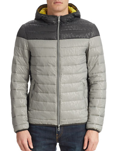 Armani Jeans Logo Embossed Reversible Puff Jacket-GREY-Medium 87977079_GREY_Medium