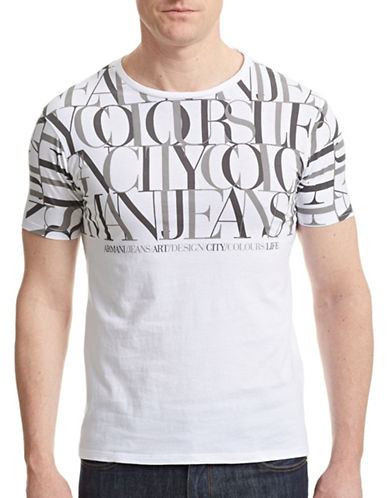Armani Jeans Printed Crew Neck T-Shirt-WHITE-Medium 87471551_WHITE_Medium