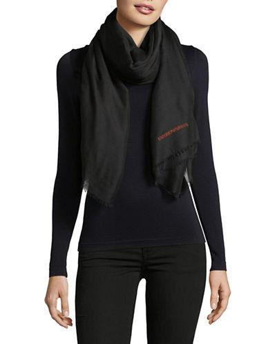Emporio Armani Emporio Logo Scarf-BLACK-One Size
