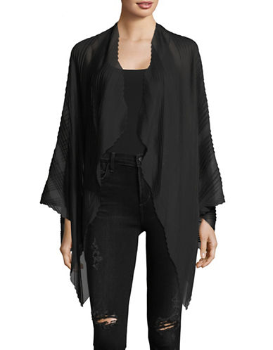 Emporio Armani Pleated Open Front Cloak-BLACK-One Size