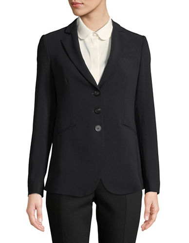 Emporio Armani Three-Button Wool-Blend Jacket-NAVY-EUR 38/US 2