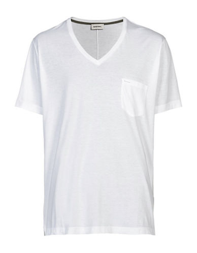 Diesel Saturno Pima Cotton V-Neck T-Shirt-WHITE-X-Large 88439147_WHITE_X-Large