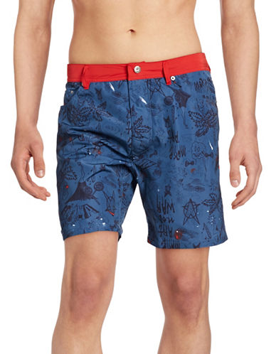Diesel WayKeeki Print Contrast Swim Shorts-BLUE-X-Large 88180767_BLUE_X-Large