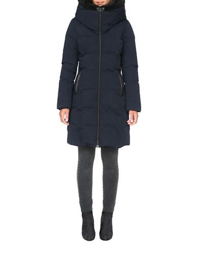 Soia & Kyo Katlin Above Knee-Length Faux Fur Trimmed Down Filled Coat-INDIGO-Medium