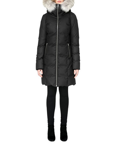 Soia & Kyo Fanya Mid-Length Coyote Fur Trimmed & Down-Filled Coat-BLACK-Small