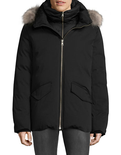 Soia & Kyo Fur-Trimmed Down Parka-BLACK-Large