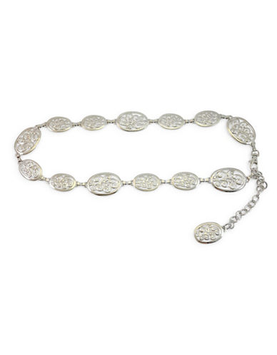 Fashion Focus Alternating Small and Large Oval Belt-SILVER-X-Large