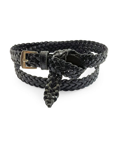 Fashion Focus Braided Flip Tip Leather Belt-BLACK-Medium/Large
