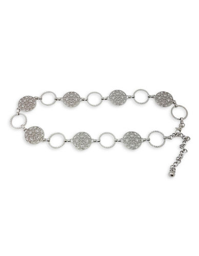 Fashion Focus Hammered Ring and Filigree Disc Chain Bracelet-SILVER-Large/X-Large