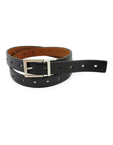 Fashion Focus End-to-End Perforated Reversible Belt-BLACK-Medium/Large