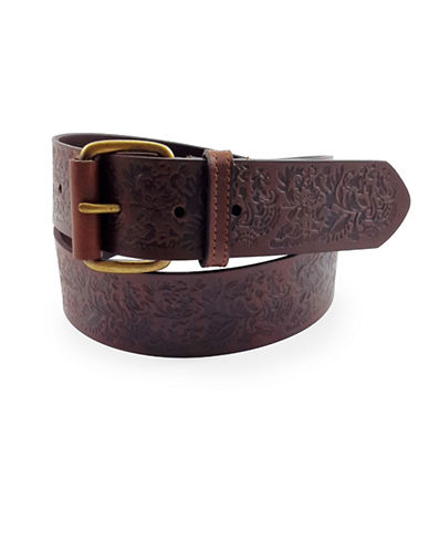 Fashion Focus Floral Embossed Leather Belt-BROWN-Medium