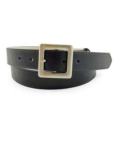 Fashion Focus Square Buckle Belt-BLACK-Large