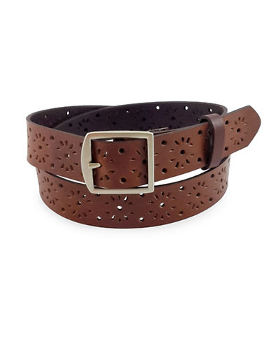 Fashion Focus Perforated Patterned Leather Belt-BROWN-Medium/Large