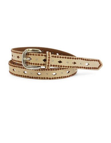 Fashion Focus Nat Jean Diamond Leather Belt-NATURAL-Medium/Large