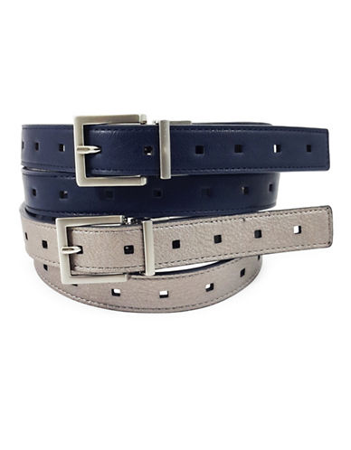 Fashion Focus End-to-End Perforated Reversible Belt-BLUE-Medium/Large