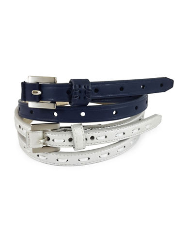 Fashion Focus Two-Piece Perforated Belt Set-BLUE-Medium/Large