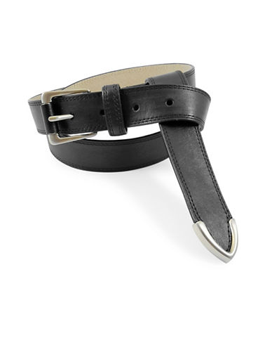 Fashion Focus Smooth Chanel Flip Tip Leather Belt-BLACK-Medium