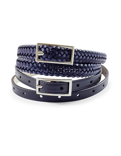 Fashion Focus Braid and Perforated Belt Set-NAVY/BLACK-X-Large