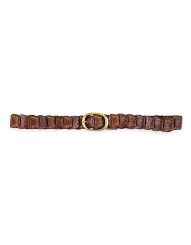 Fashion Focus Embossed Studded Ladder Braid Leather Belt-BROWN-Small/Medium