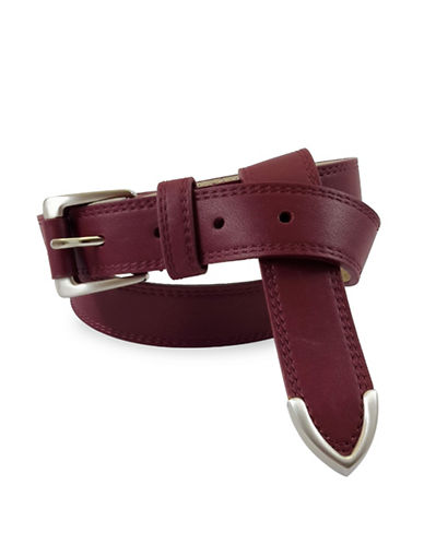 Fashion Focus Smooth Chanel Flip Tip Leather Belt-RED-Medium