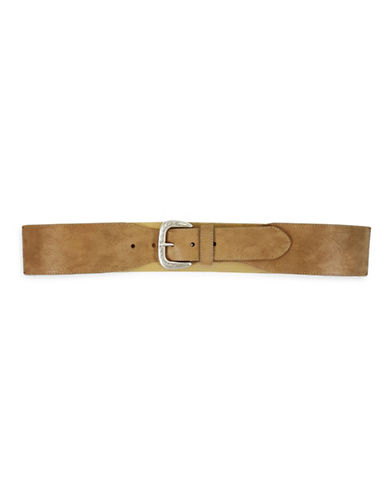 Fashion Focus Embossed Stretch Buckle Belt-BEIGE-Medium/Large
