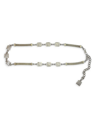 Fashion Focus Square Chained Silvertone Belt-SILVER-Medium/Large