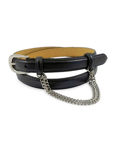 Fashion Focus Oval Buckle and Double Draped Chain Belt-BLACK-Large