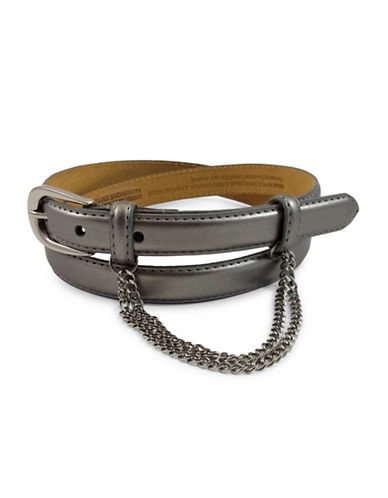 Fashion Focus Oval Buckle and Double Draped Chain Belt-GREY-Small