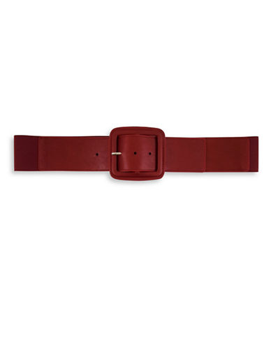 Fashion Focus Square Center Bar Buckled Belt-RED-Large/X-Large
