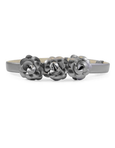 Fashion Focus Stretch Floral Belt-SILVER-Large/X-Large