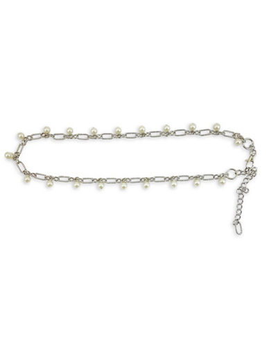 Fashion Focus Baroque Pearls and Braided Belt-SILVER/PEARL-Medium/Large