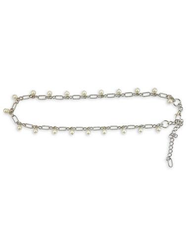 Fashion Focus Baroque Pearls and Braided Belt-SILVER/PEARL-Small/Medium