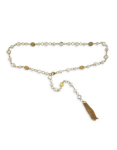 Fashion Focus Baroque Pearls and Oval Casting Belt-GOLD/PEARL-Medium/Large