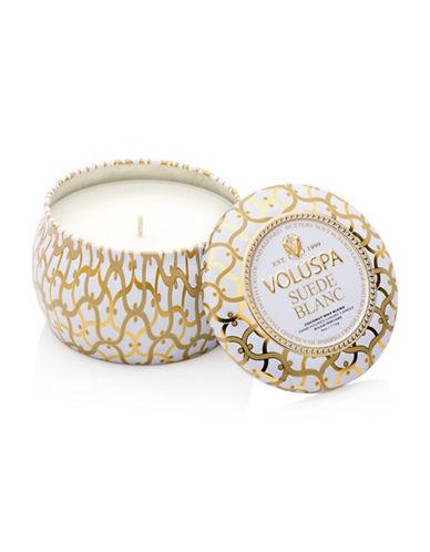 Voluspa Suede Blanc Mini Tin Candle-WHITE-One Size