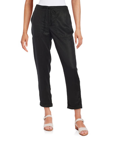 Lord & Taylor Lyocell Drawstring Pants-BLACK-X-Small 88429542_BLACK_X-Small